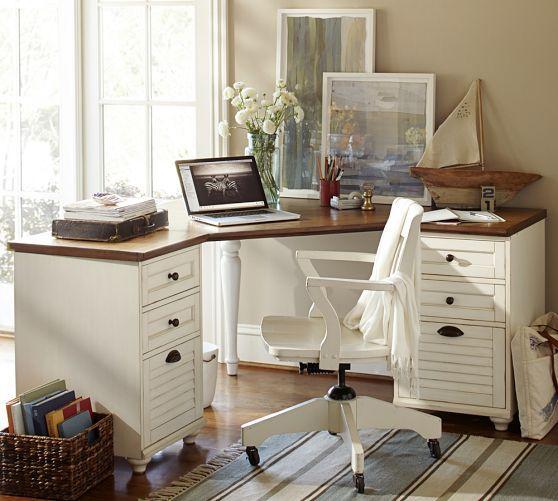 Whitney Corner Desk Set 1 Desktop 2 2 Drawer File Almond White
