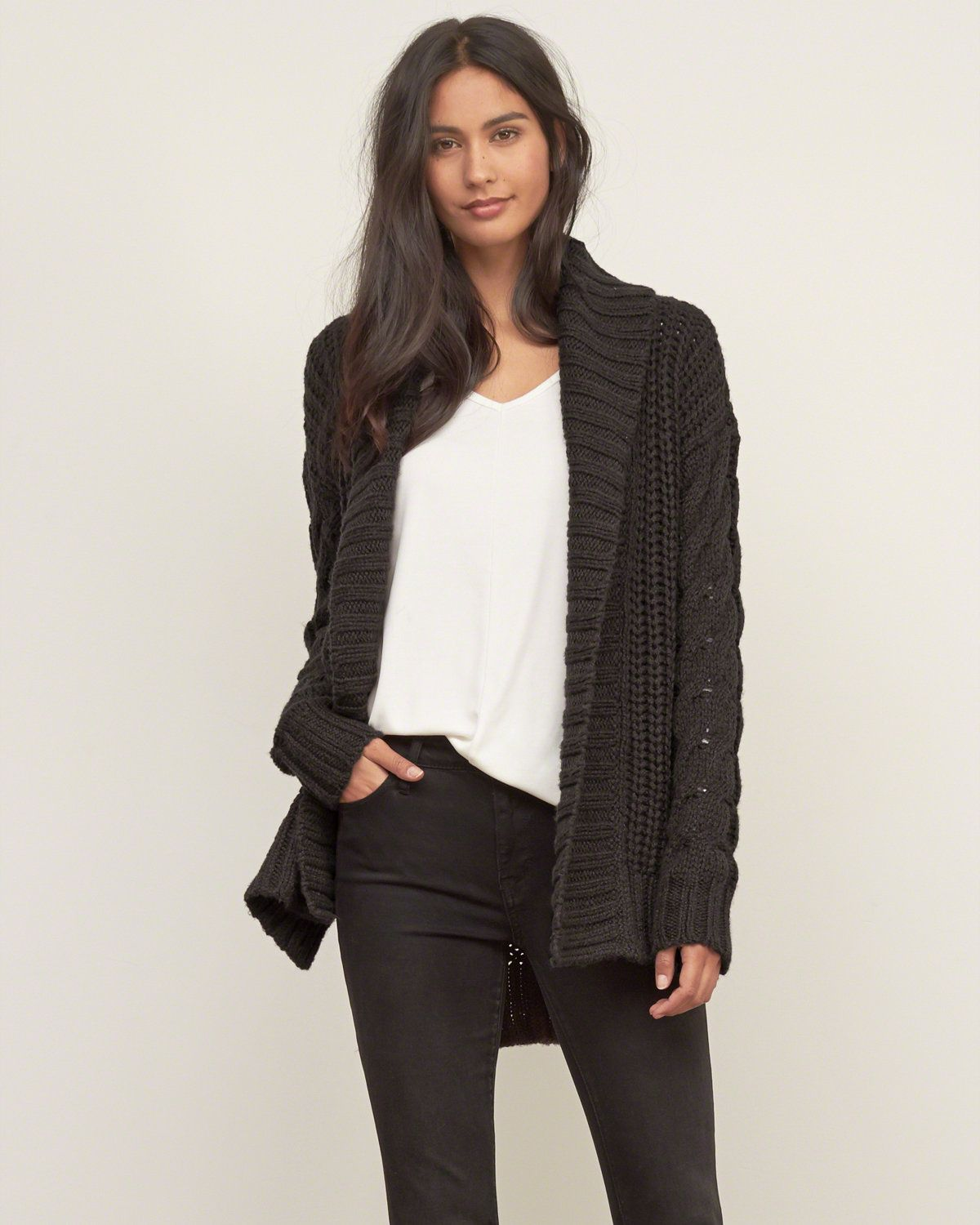 Womens Cable Boyfriend Cardigan | Swingy and flowy with an open ...