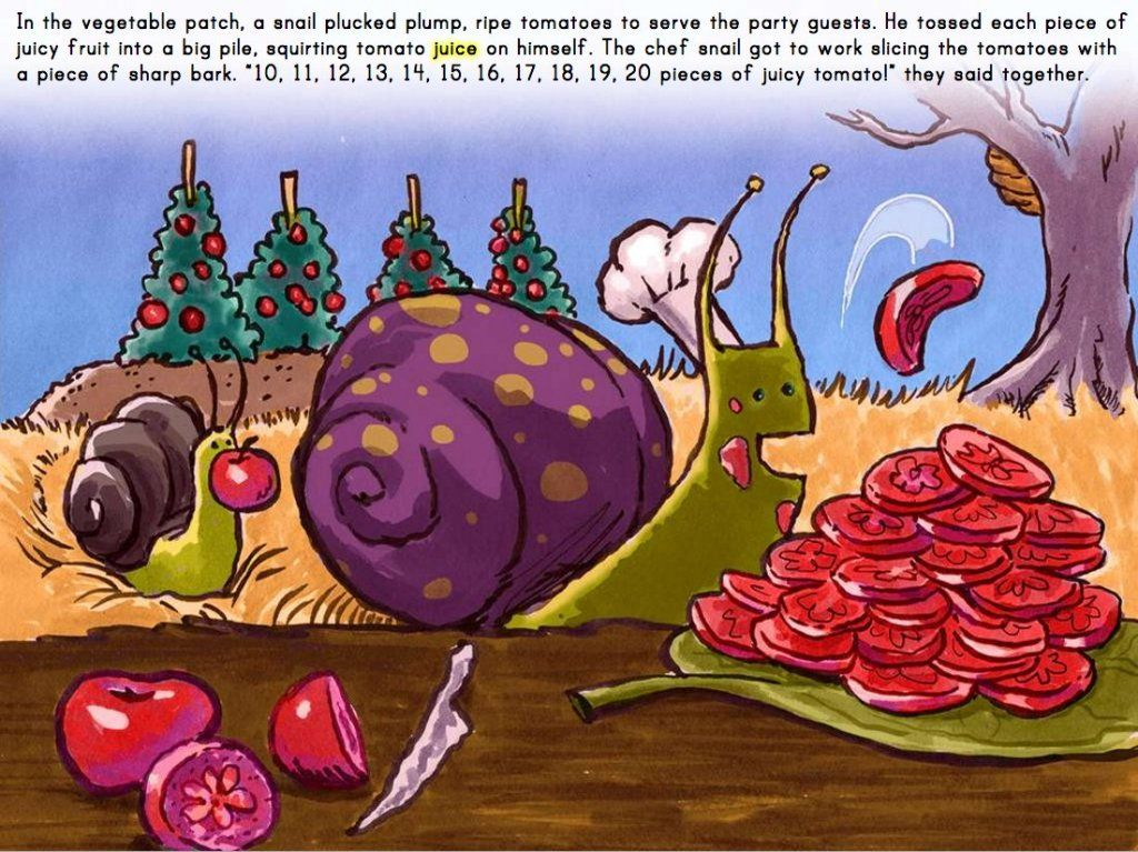 Snail Chores Counting 11 to 20 Game Free online