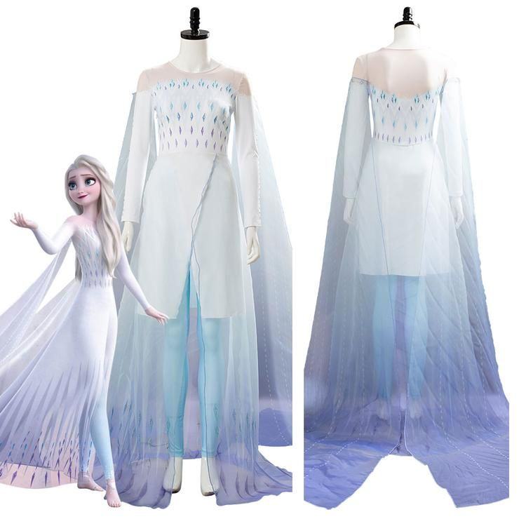 Frozen 2 Elsa Ahtohallan Cave Queen White Gown Cosplay Costume In 2020 Frozen Elsa Dress Cosplay Outfits Costumes For Women