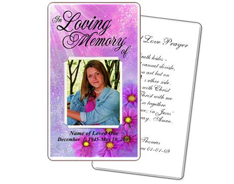 Memorial Prayer Cards Sparkle Floral Printable Diy Prayer Card