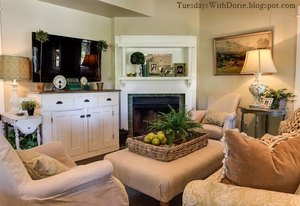 Room inspiration tuesday s with dorie the lettered - Living room layout with corner fireplace ...