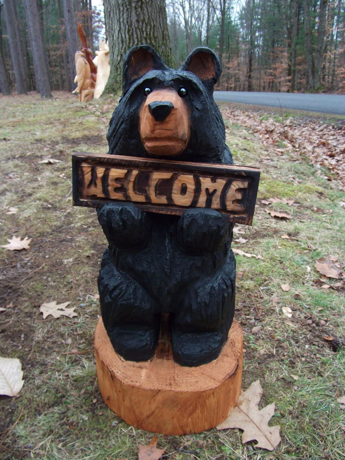 "24"" Chainsaw Carved Bear Holding Sign"