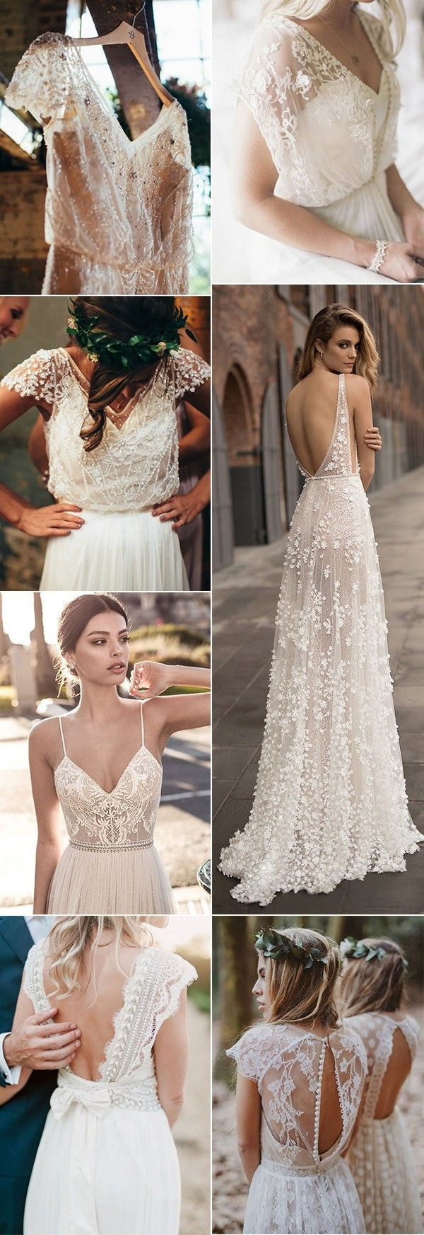 Top 18 Boho Wedding Dresses for 2018 Trends is part of Lace weddings - Boho wedding dresses blur the line between traditional, and defined by embodying the free spirit of the Hippies from the 1960's and 1970's  The primary ingredient to all bohemian wedding dresses is comfort  Expect to see a lot of flowing layered fabrics, ethnic inspiredtextures, and floral crowns in these jawdropping boho weddings gowns