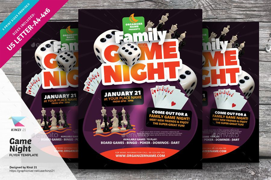 Game Night Flyer Template Affiliate Night Affiliate Game Template Flyer Flyer Templates Flyer Template Flyer