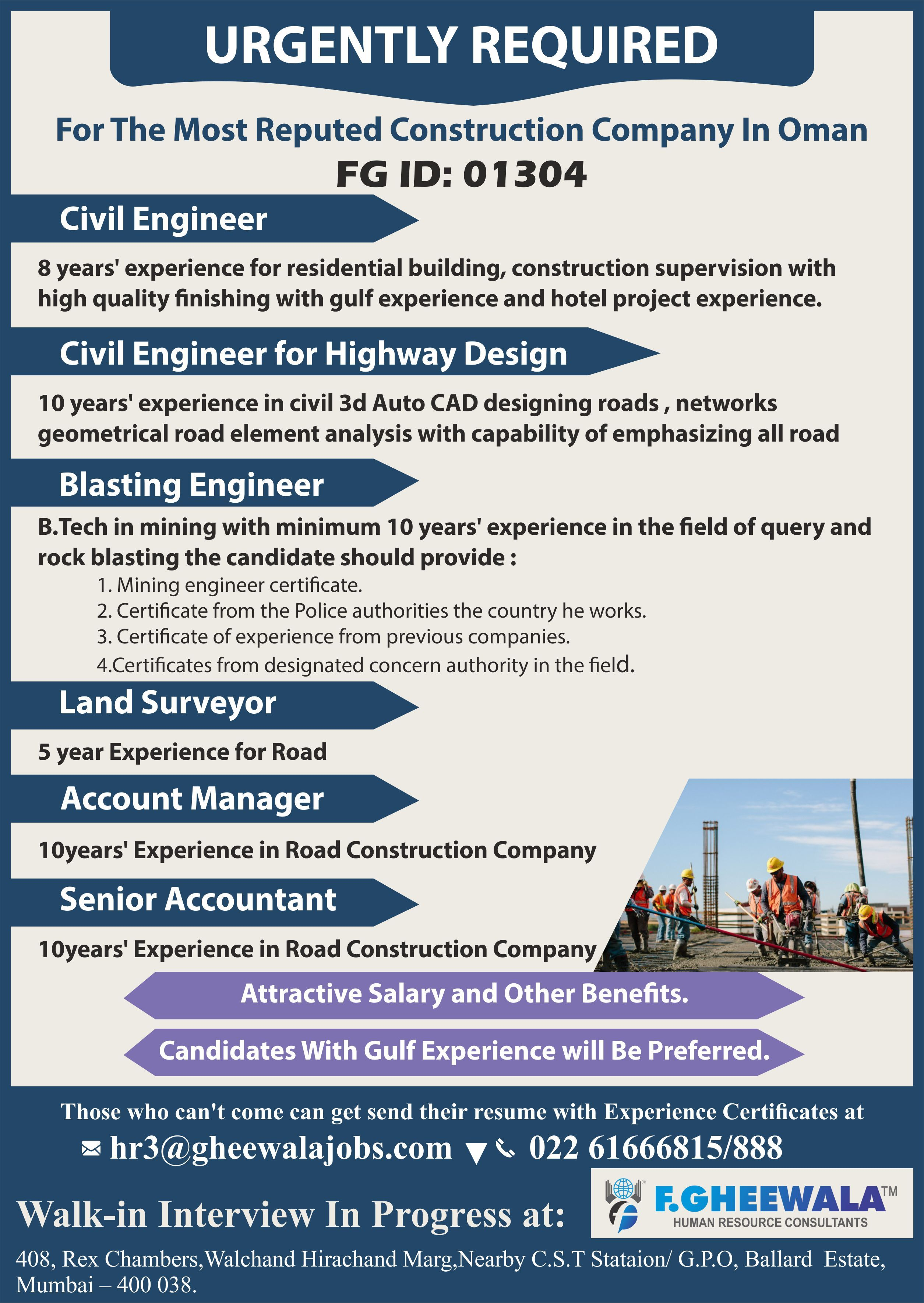 Urgently Required For The Most Reputed Construction Company In Oman Please Send Your Updated Cv