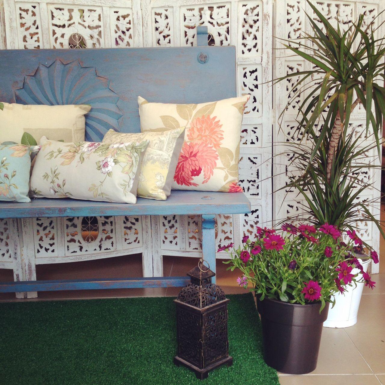 Banco De Madera Restaurado Y Pintado En Tono Turquesa Ideal Para  # Muebles Mambuka
