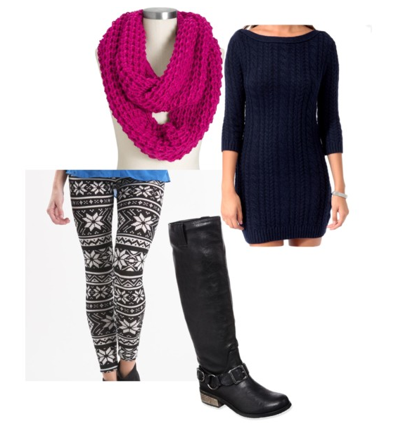 Infinity scarf, sweater from forever 21, leggings from pac sun ...