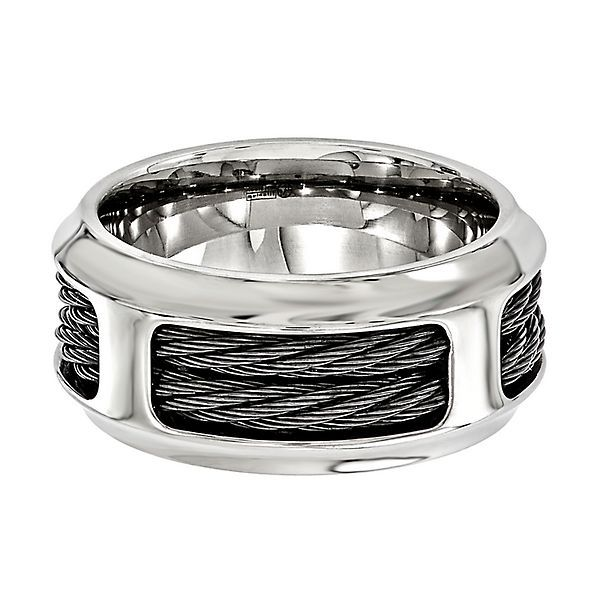 Wedding Bands Classic Bands Comfort Fit Edward Mirell Stainless Steel Black Carbon Fiber 8mm Band Size 12.5