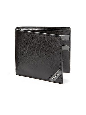 0cbd8f245694e5 Prada Saffiano Corner Bifold Wallet in Black/Grey from Saks  #SaksFifthAvenue #Saks #Wallet #Prada #PradaWallet