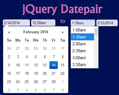 Datepair– Google Calendar Like jQuery Date&Time Range Picker