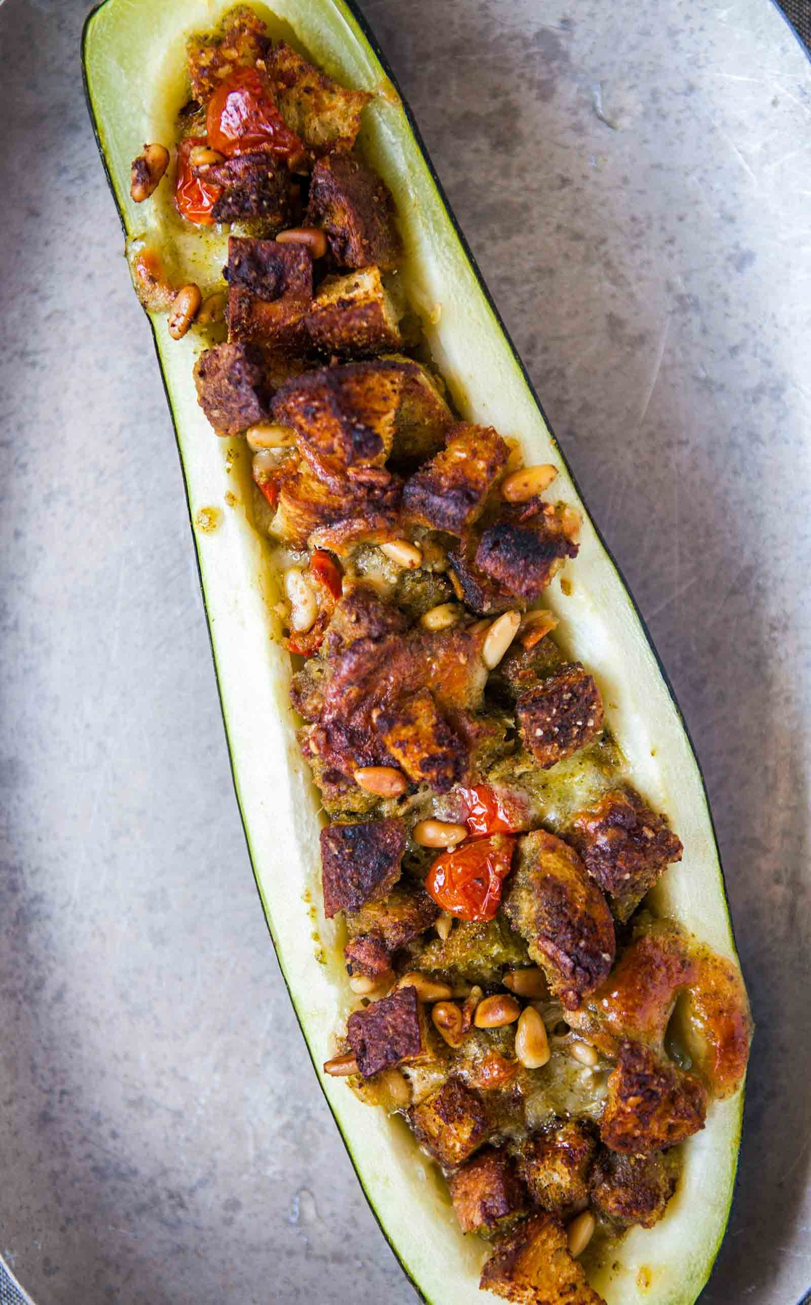 Pesto Stuffed Zucchini! Ginormous zucchini in your garden? Try this ...