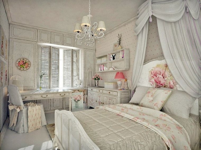 Decorazioni per camera da letto shabby con mobili in legno effetto ...
