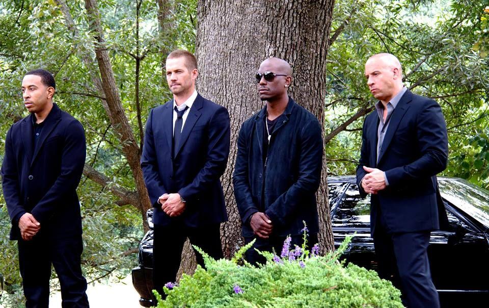Ludacris Paul Walker Tyrese And Vin Diesel Filming A Funeral Scene In Fast 7 Paul Walker Fast And Furious Paul Walker Movies