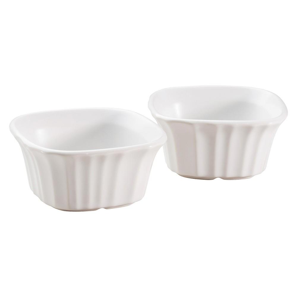 CorningWare Set of 2 7 Ounce Square Ramekins, French White