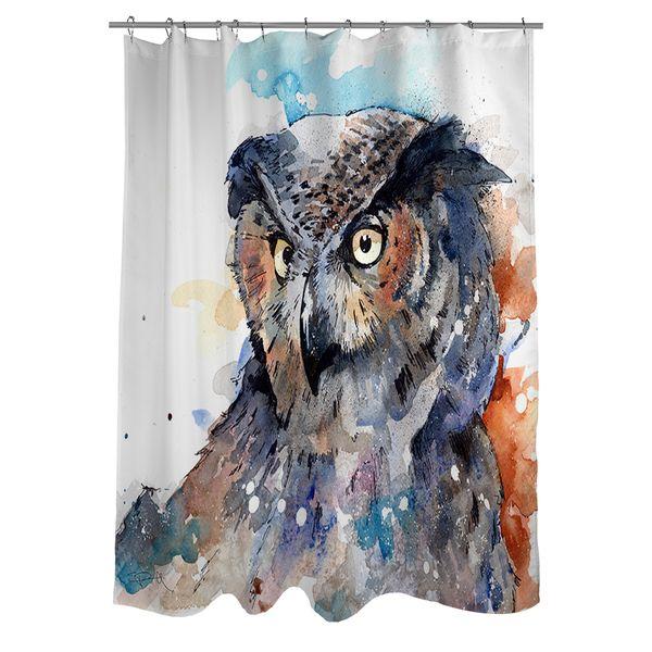 Thumbprintz Horned Owl Shower Curtain