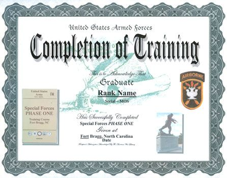 army certificate of completion template - Tikirreitschule-pegasus - army certificate of training template
