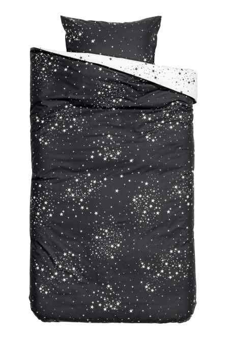 Patterned Duvet Cover Set Anthracite Grey Stars Home All H M Gb Dicas Decoração Quarto Decoração De Quarto Dicas De Decoração