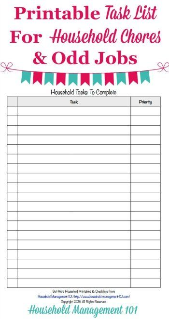 house chore schedule template - printable task list template master list of household