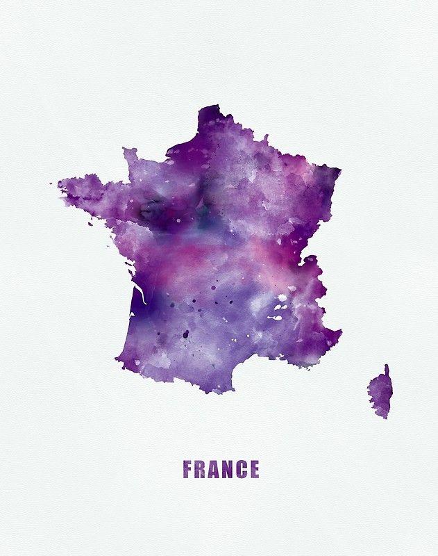 France #france #paris #state #map #art #boards #prints #colorful ...