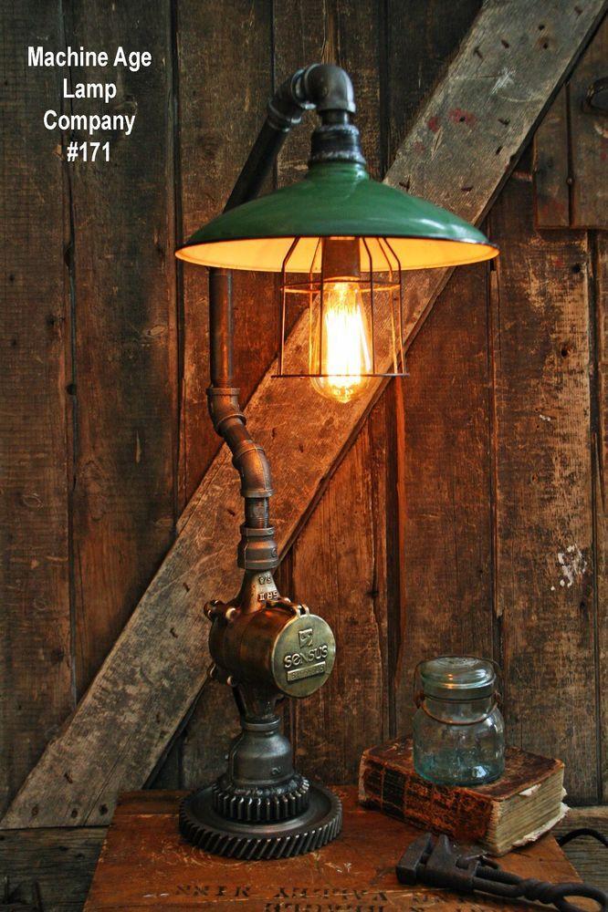 Steampunk Lamp Industrial Machine Steam Gauge Light Train Nautical