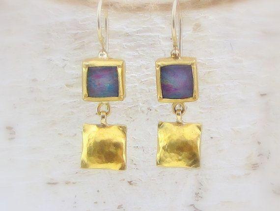 Opal Earrings - 24k Gold & Boulder Opal Doublet Earrings - Solid Gold Dangle Earrings - Stone Earrings