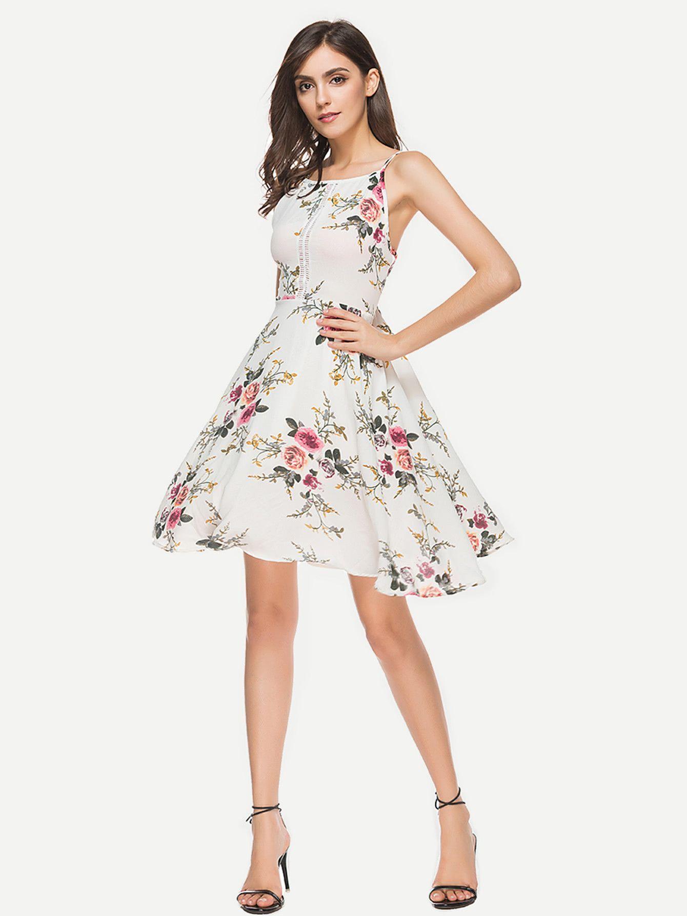 08413e99ef8c White Floral Print Swing Dress