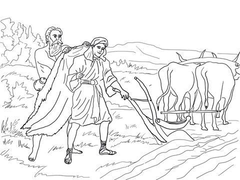 Elijah Chooses Elisha Coloring page   Christian Coloring Pages-OT ...