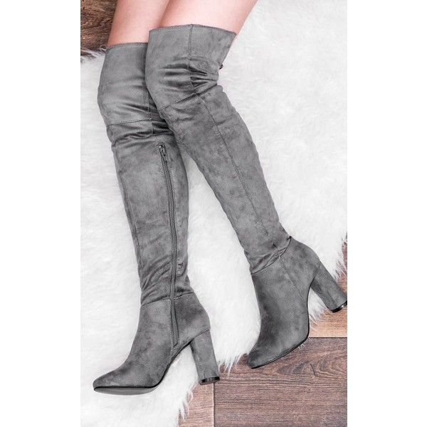 7288616a782e SpyLoveBuy Lincoln Block Heel Over Knee Tall Boots - Grey Suede Style (1  510 UAH