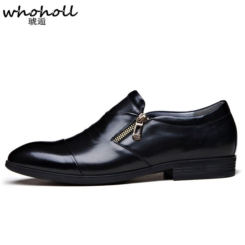 Whoholl Men Dress Shoes Plus Size Business Flat Black Brown Breathable Low Top Formal Office Click Visit If You Want To