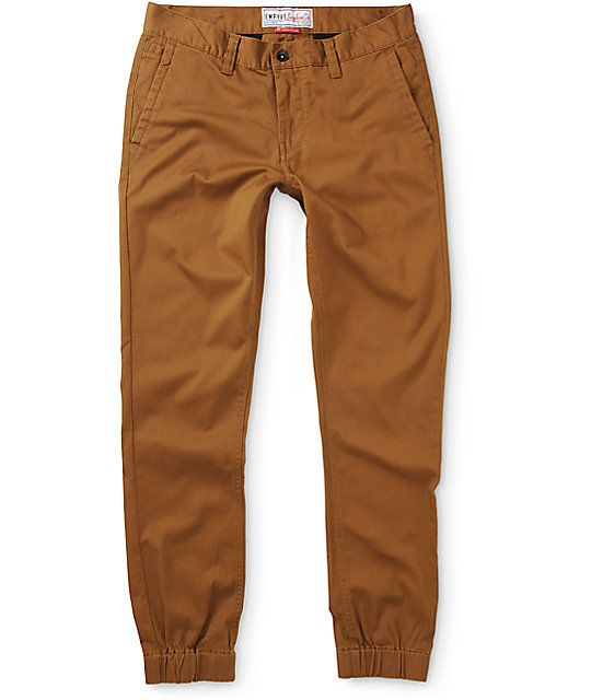 7f206b6b55f7c0 Clean up your outfits with a khaki colorway with slight stretch for comfort  plus elastic ankle cuffs to show off your fresh kicks.