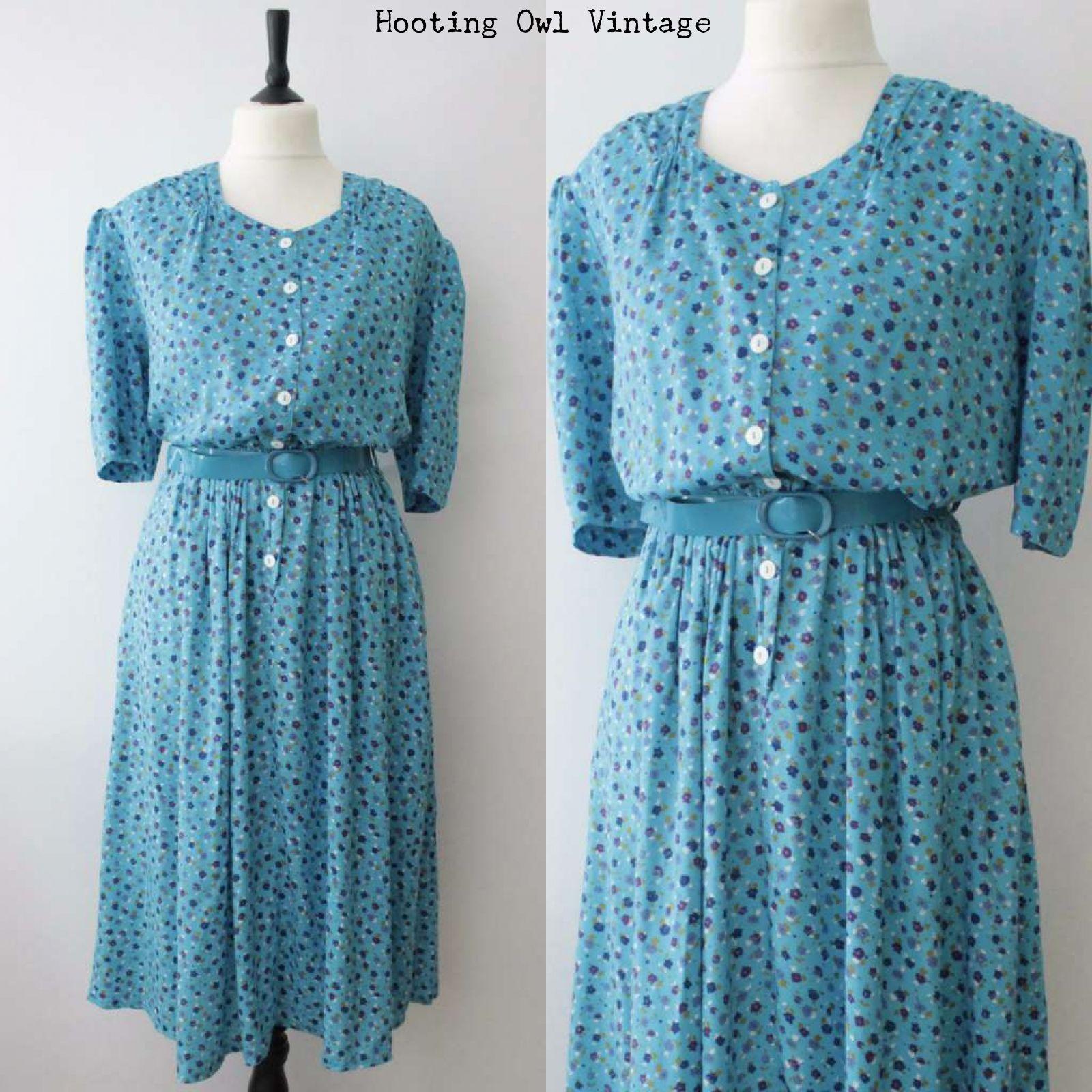 Vintage s tea dress s style landgirl ww revival blue