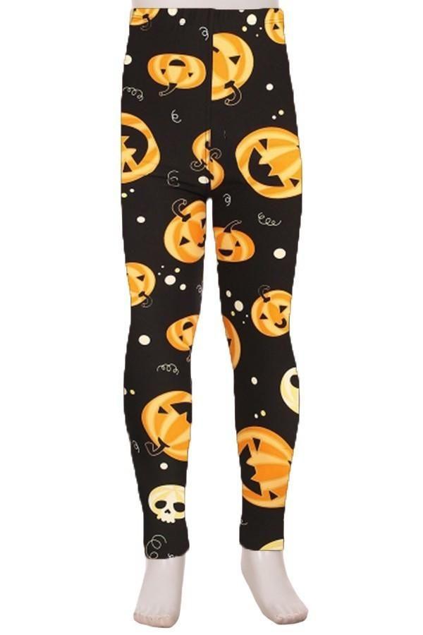 Black Halloween Pumpkin Leggings for Women Yoga High-Waist Tummy Control Workout Pant Tights