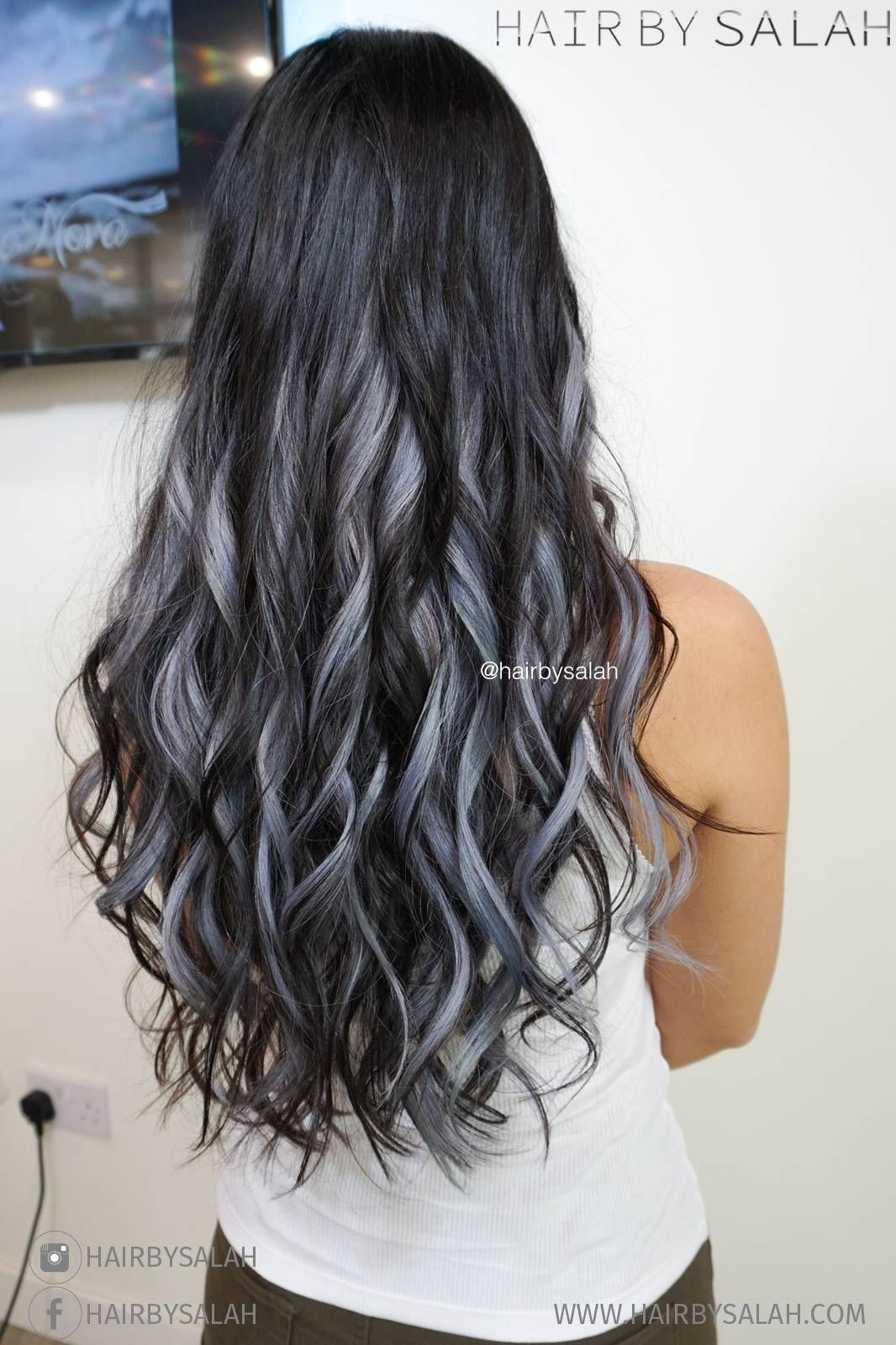 Image Result For Silver Highlights On Dark Brown Hair Dark Hair Grey Highlights Brown Hair With Silver Highlights Hair Highlights