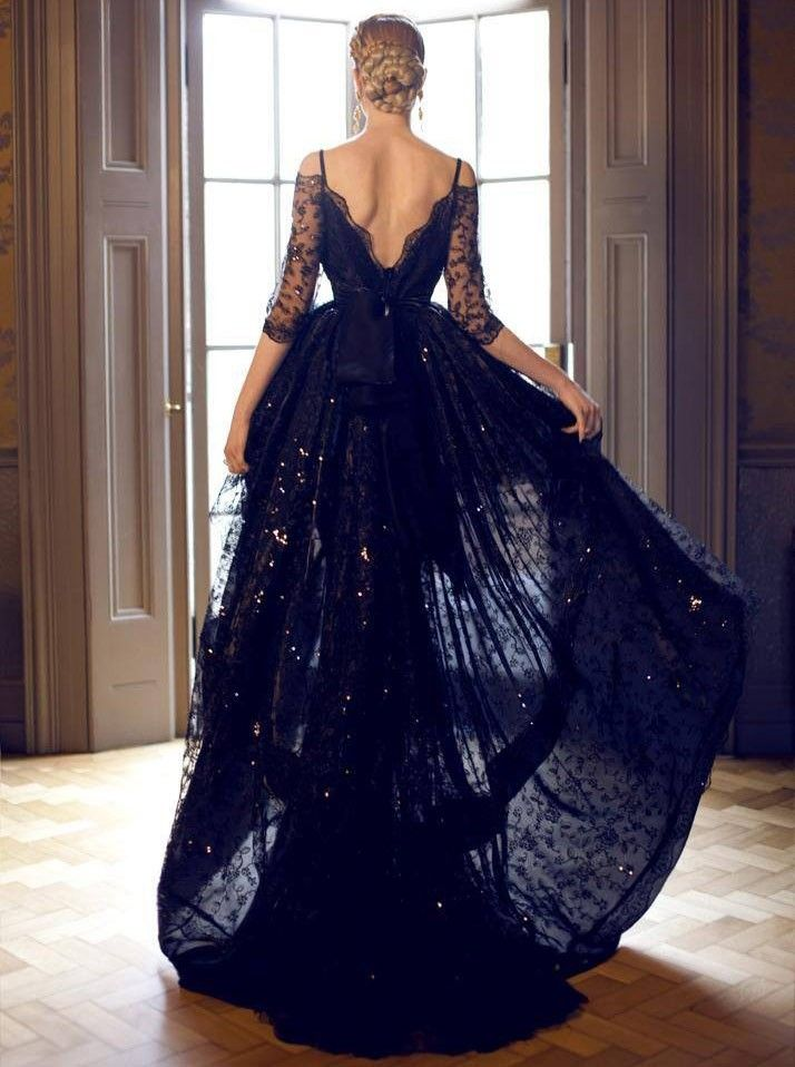 75d47a12e47f Buy Simple-dress A-line Black Lace Off-shoulder High-low Prom  Dresses Homecoming Dresses Evening Dresses LAPD-7394 Special Occasion  Dresses under  162.99 ...