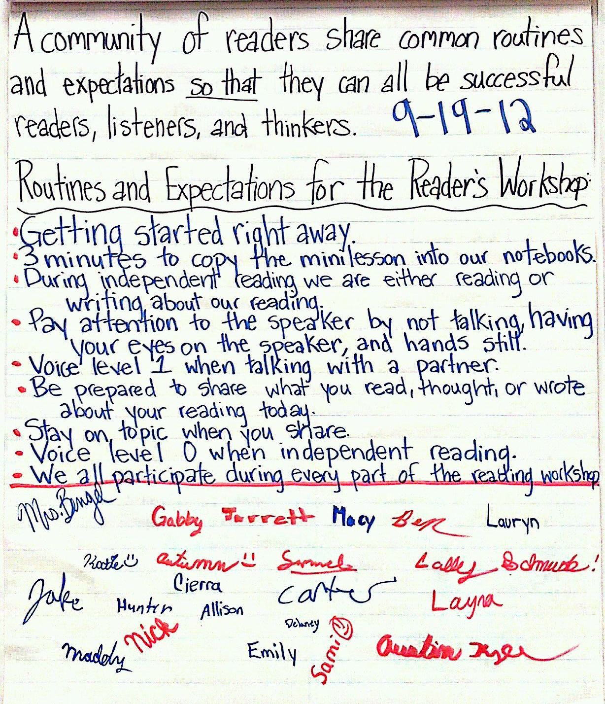 Our Class Agreement On Routines And Expectations For The Reading