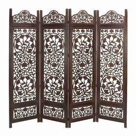 Woodland Imports 4-Panel Dark Walnut Wood Folding Indoor Privacy ...