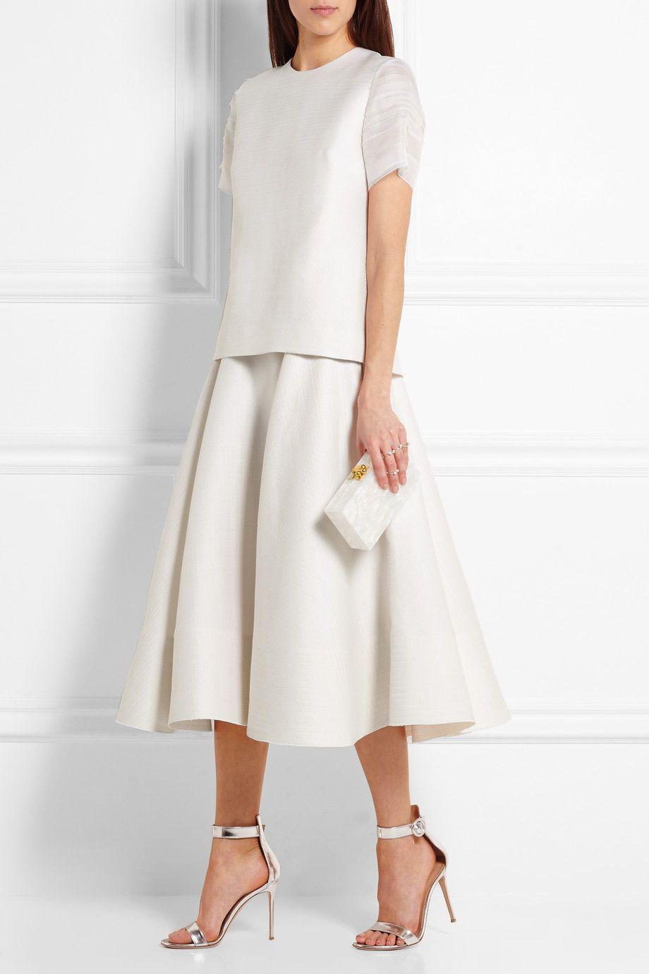 Roksanda Amity organzatrimmed wool and silkblend top