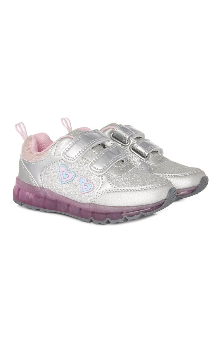 Younger Girl Silver Light Up Trainer