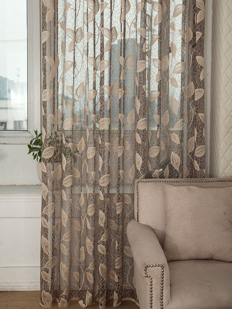 Taupe Jacquard Net Sheer Curtain Voile Panel One Custom Made