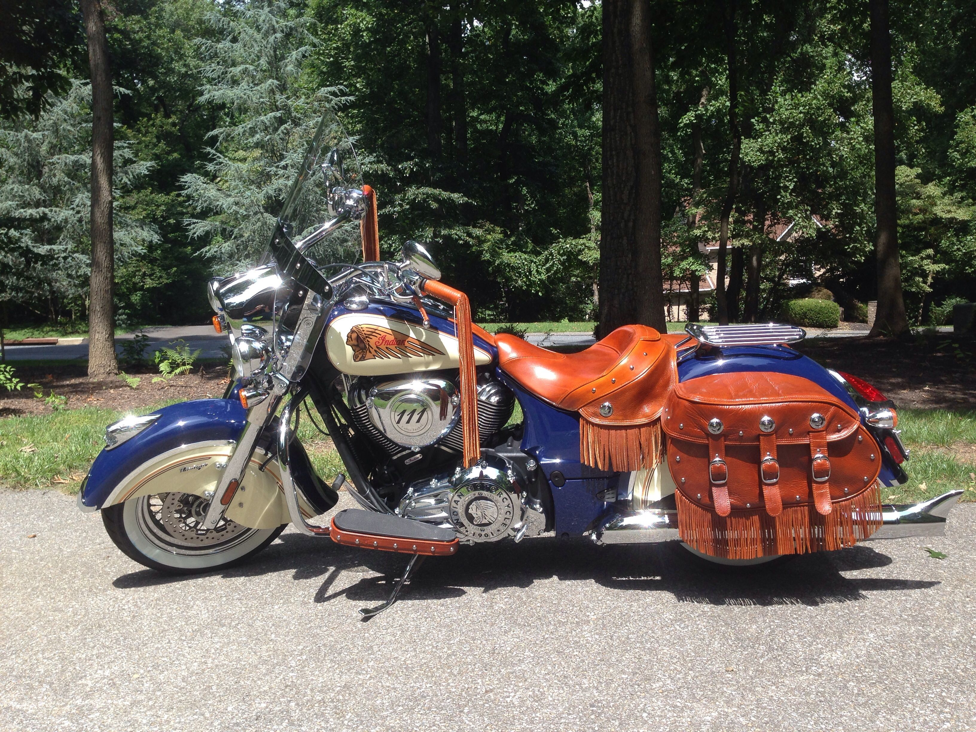 2014 Indian Vintage Custom Paint Oil Dyed Leather Many Add Ons Indian Motorcycle Indian Chief Bike Classic Harley Davidson [ 2448 x 3264 Pixel ]
