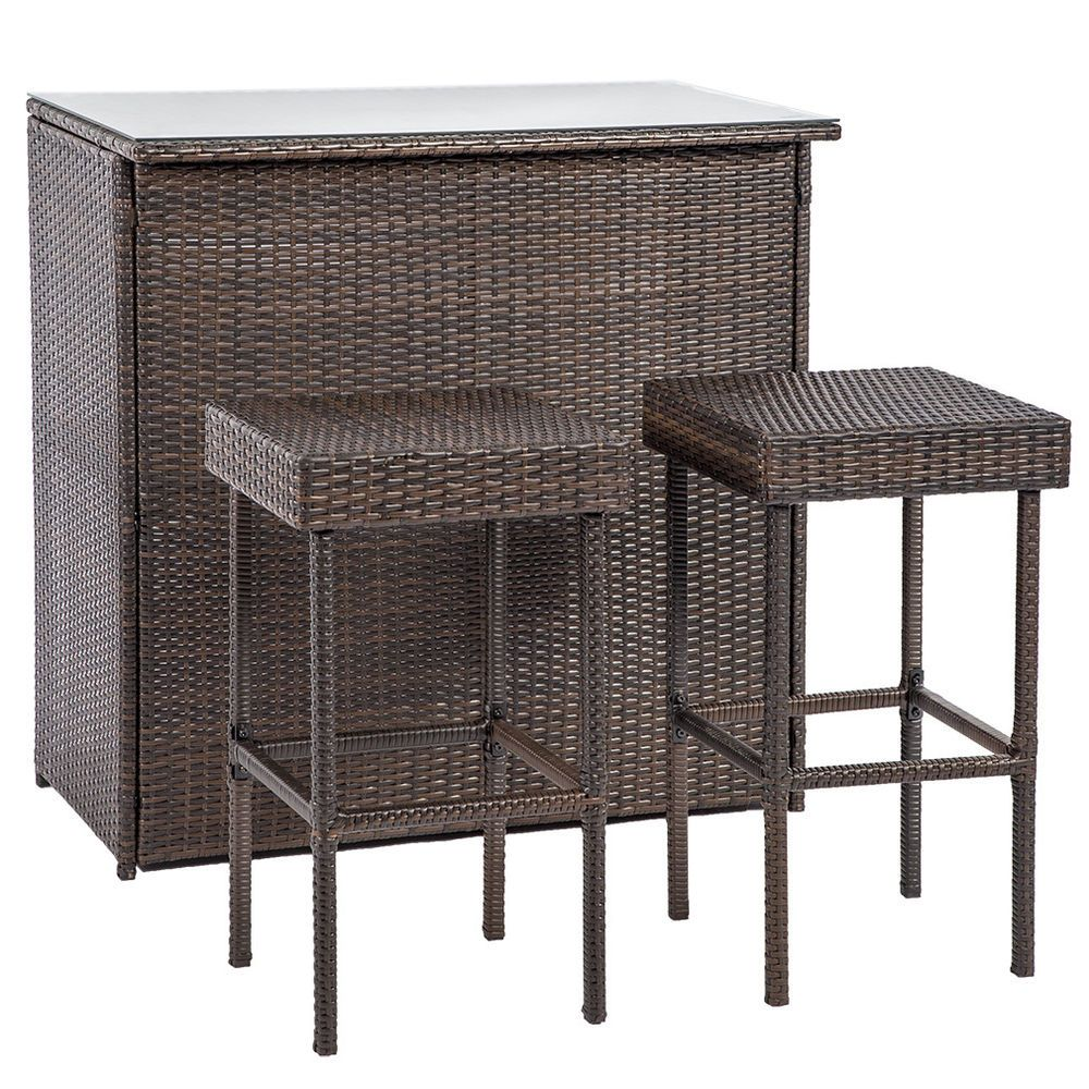 Outdoor Wicker Bar Chair Set 8PC Patio Furniture Glass Bar and Two