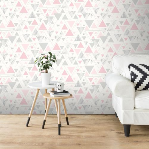 MARBLESQUE GEOMETRIC MARBLE WALLPAPER GREY SILVER FINE DECOR FD42302 METALLIC