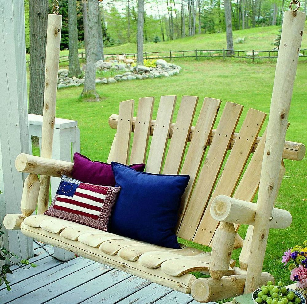 Cedar log porch swing set rustic wood seat cabin outdoor