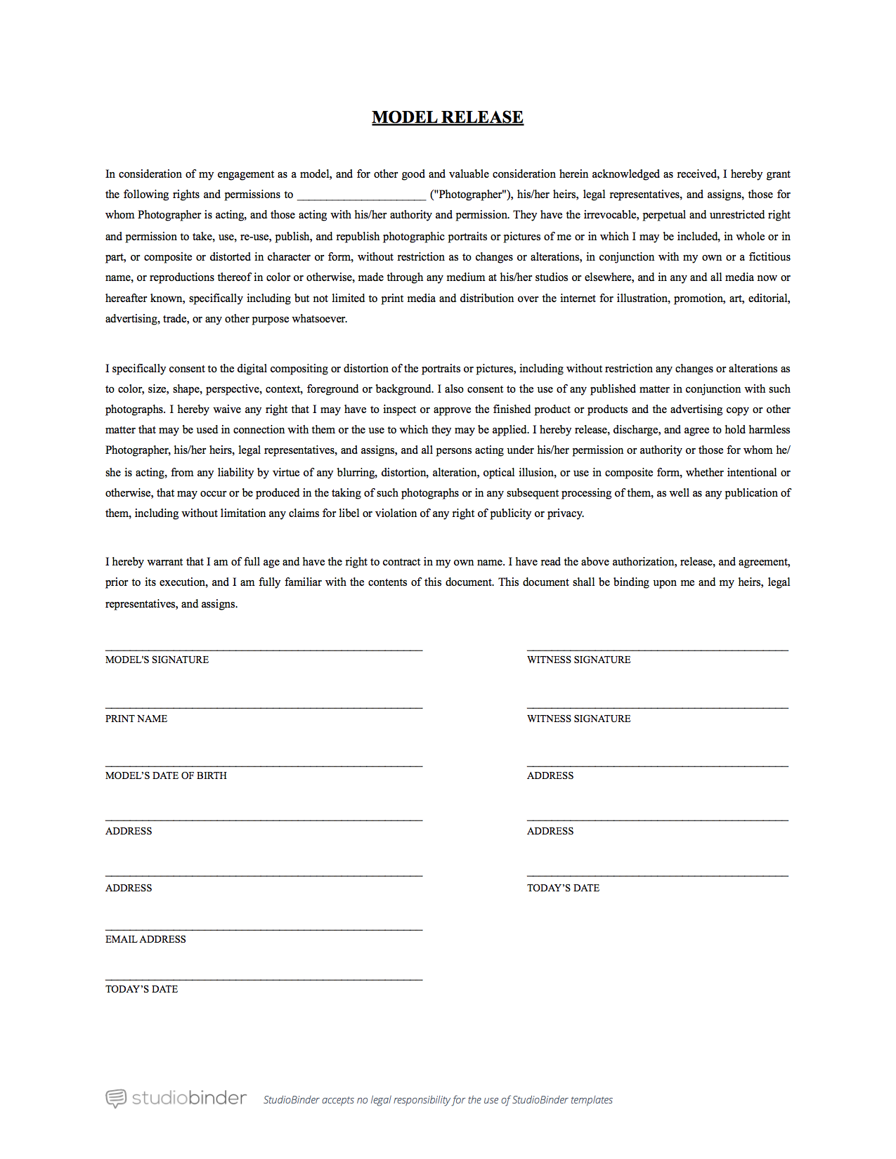 Standard Model Release Form Template For the reasons