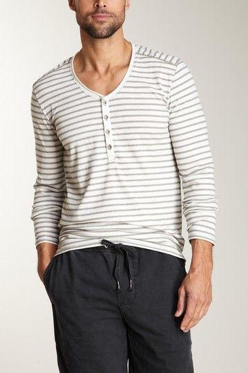 Converse Black Canvas Long Sleeve Slouchy Henley light grey heather stripe repin by #dazehub