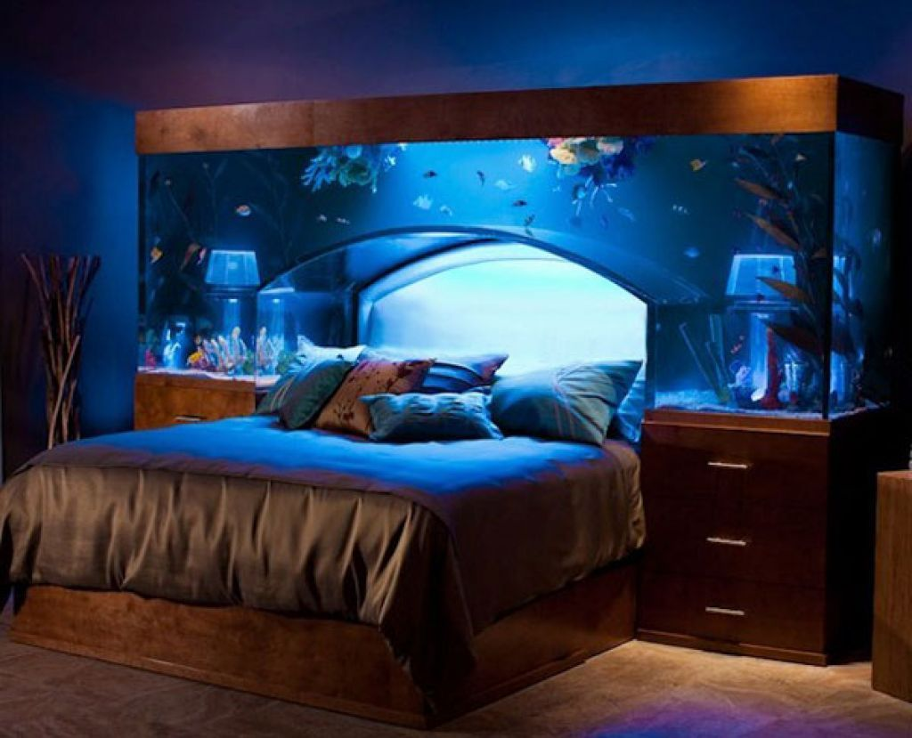 Fish tank bedroom furniture - Blue Aquarium Color Unique Headboards With Silver Bedding Also Brown Wood Nights And Feat Drawer Bedroom