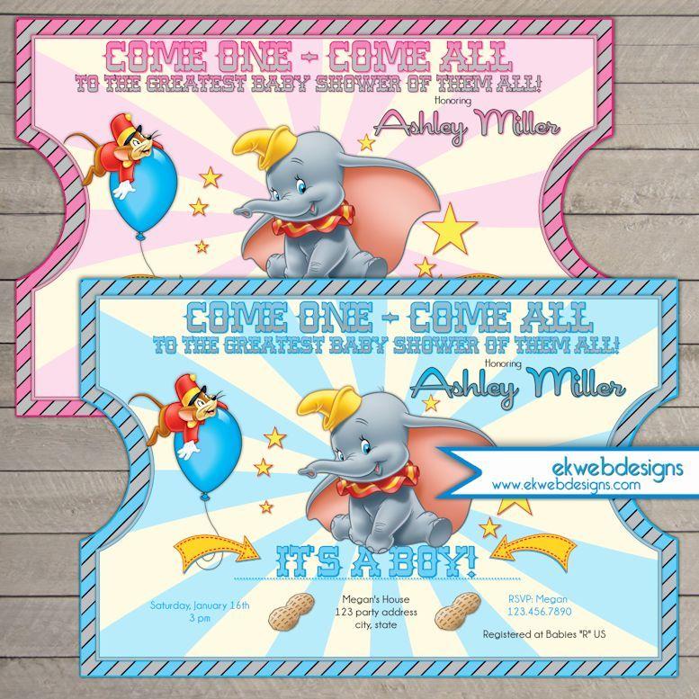 Dumbo Circus Ticket Style Baby Shower Invitations Dumbo Invitation Dumbo Baby Shower Invites Dumbo Baby Shower Circus Baby Shower