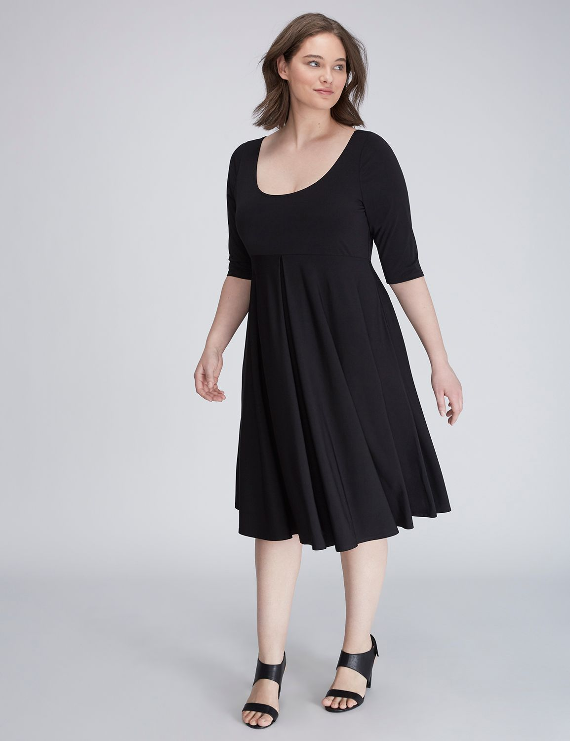 Fit flare dress with 34 sleeves trendy plus size
