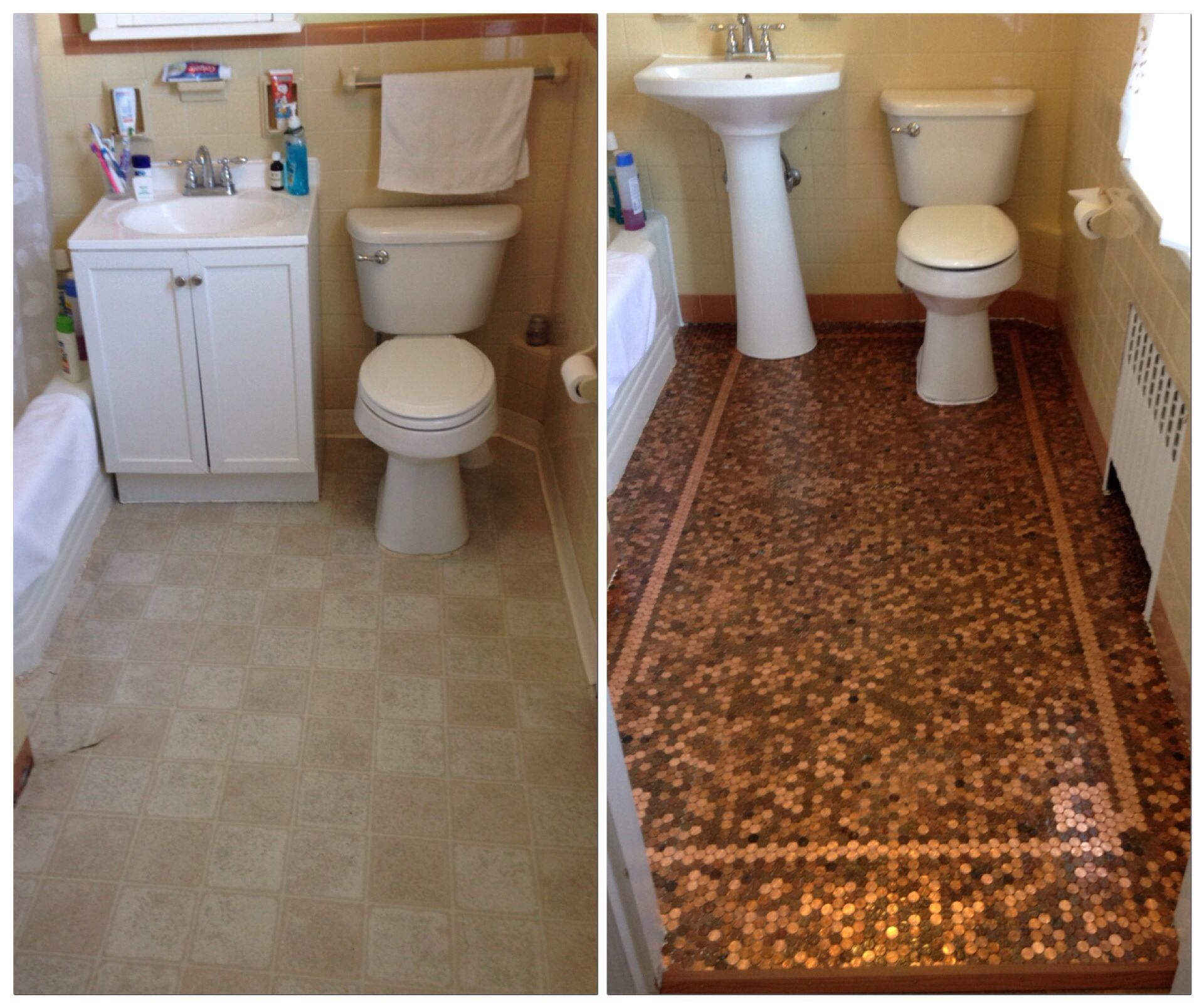 Penny tile floor mosaic before and after. | Penny tile ...